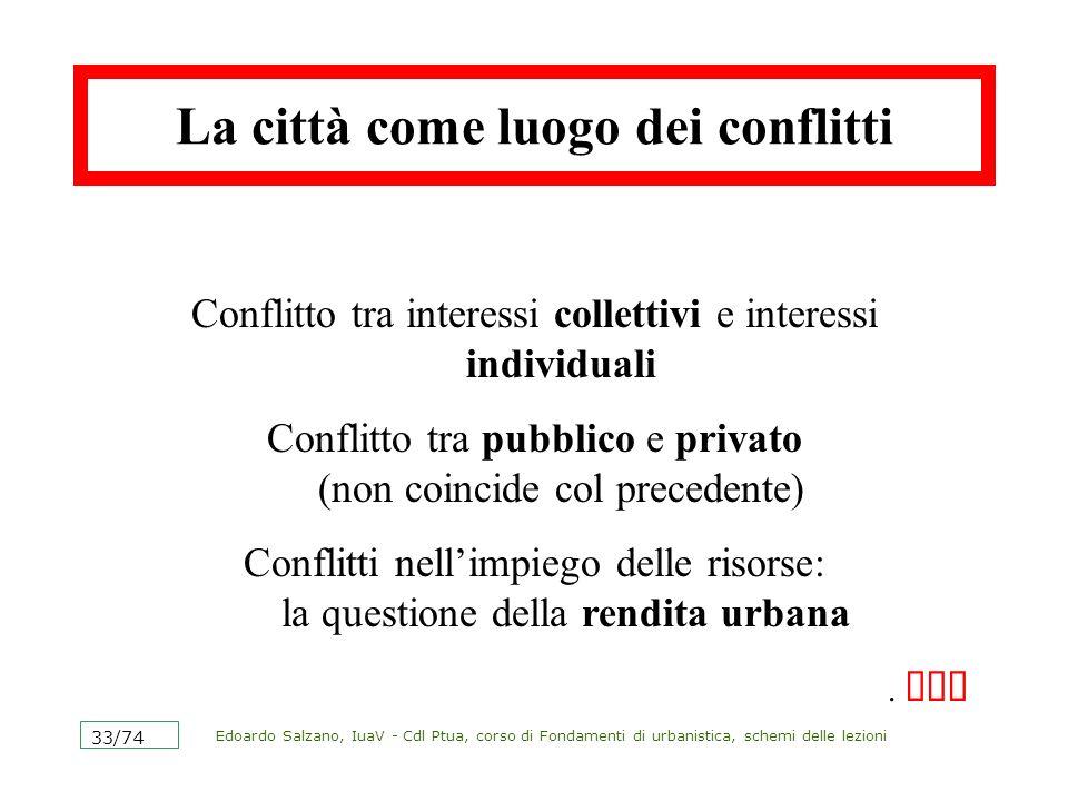 Edoardo Salzano, IuaV - Cdl Ptua, corso di Fondamenti di urbanistica, schemi delle lezioni 33/74 La città come luogo dei conflitti Conflitto tra inter