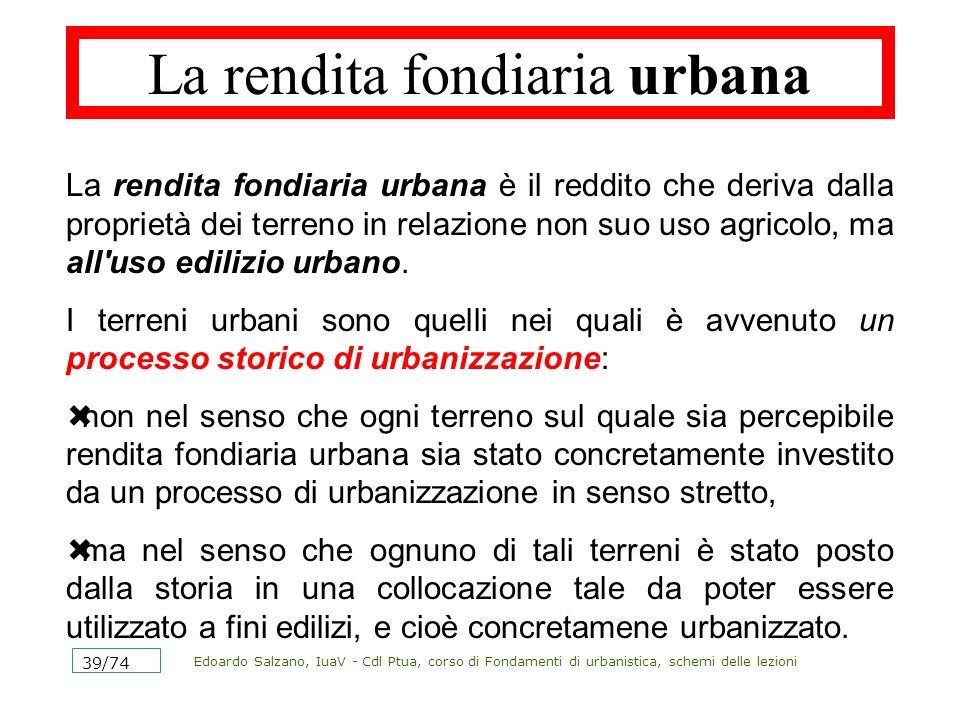 Edoardo Salzano, IuaV - Cdl Ptua, corso di Fondamenti di urbanistica, schemi delle lezioni 39/74 La rendita fondiaria urbana La rendita fondiaria urba