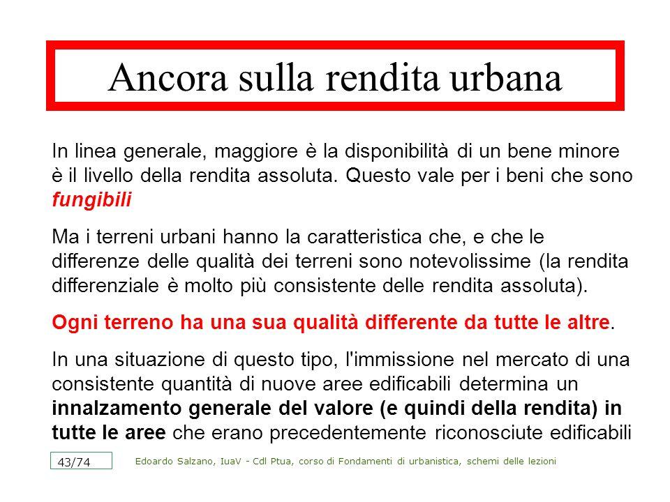 Edoardo Salzano, IuaV - Cdl Ptua, corso di Fondamenti di urbanistica, schemi delle lezioni 43/74 Ancora sulla rendita urbana In linea generale, maggio