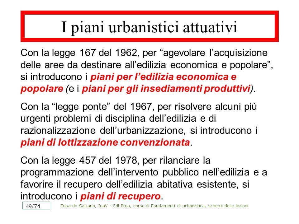 Edoardo Salzano, IuaV - Cdl Ptua, corso di Fondamenti di urbanistica, schemi delle lezioni 49/74 I piani urbanistici attuativi Con la legge 167 del 19