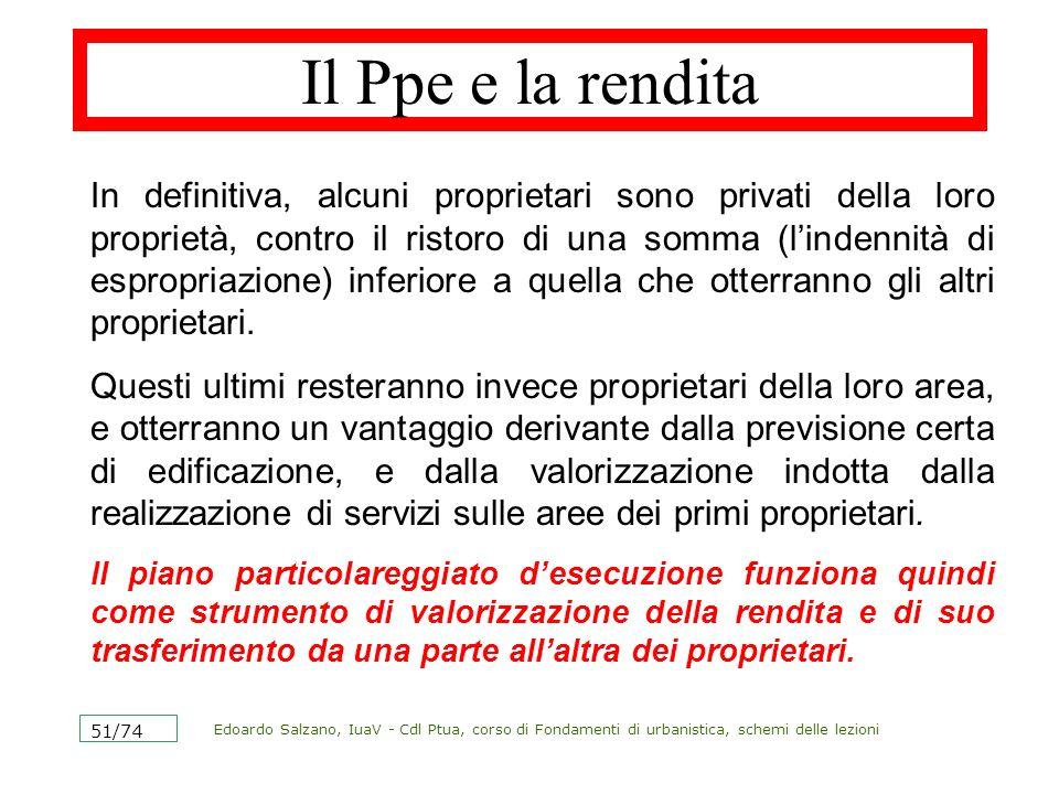 Edoardo Salzano, IuaV - Cdl Ptua, corso di Fondamenti di urbanistica, schemi delle lezioni 51/74 Il Ppe e la rendita In definitiva, alcuni proprietari