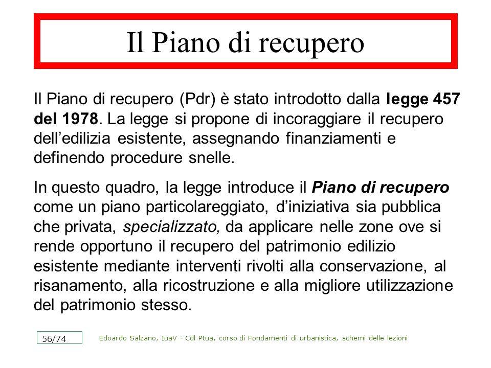 Edoardo Salzano, IuaV - Cdl Ptua, corso di Fondamenti di urbanistica, schemi delle lezioni 56/74 Il Piano di recupero Il Piano di recupero (Pdr) è sta
