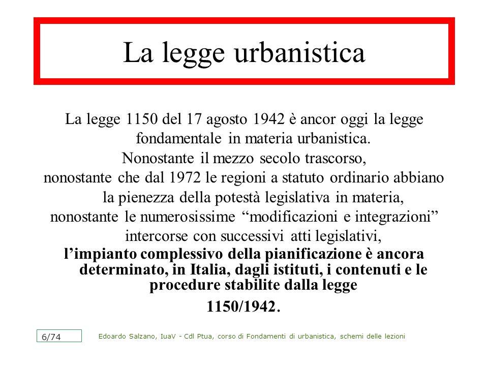 Edoardo Salzano, IuaV - Cdl Ptua, corso di Fondamenti di urbanistica, schemi delle lezioni 6/74 La legge urbanistica La legge 1150 del 17 agosto 1942