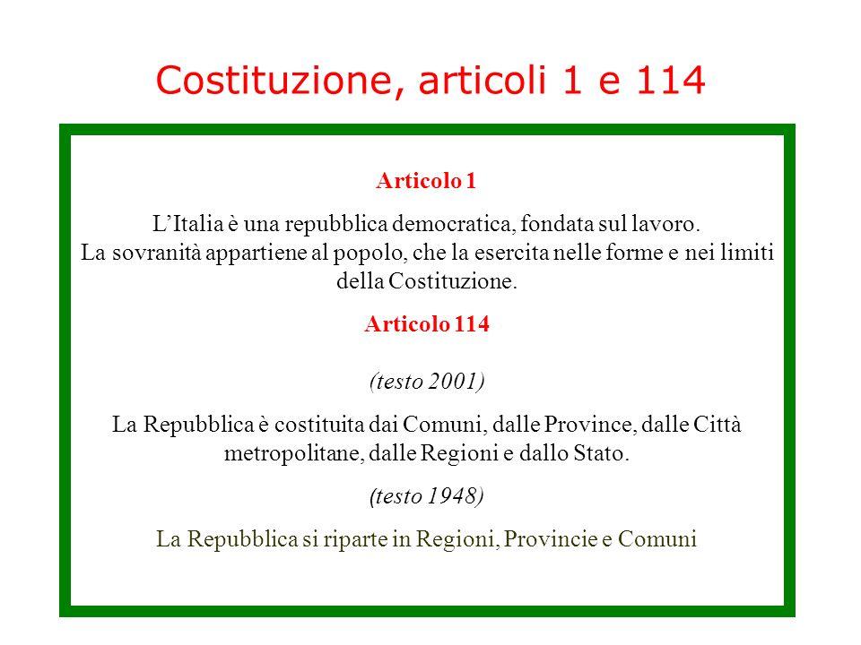 Costituzione, articoli 1 e 114 Articolo 1 LItalia è una repubblica democratica, fondata sul lavoro.