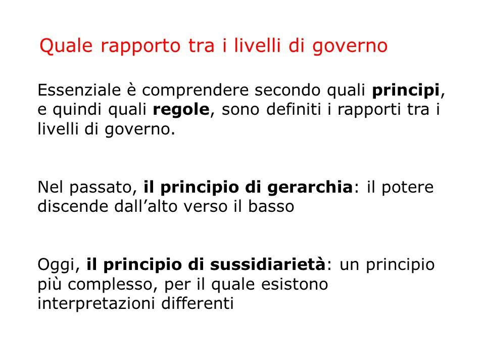 Quale rapporto tra i livelli di governo Essenziale è comprendere secondo quali principi, e quindi quali regole, sono definiti i rapporti tra i livelli di governo.