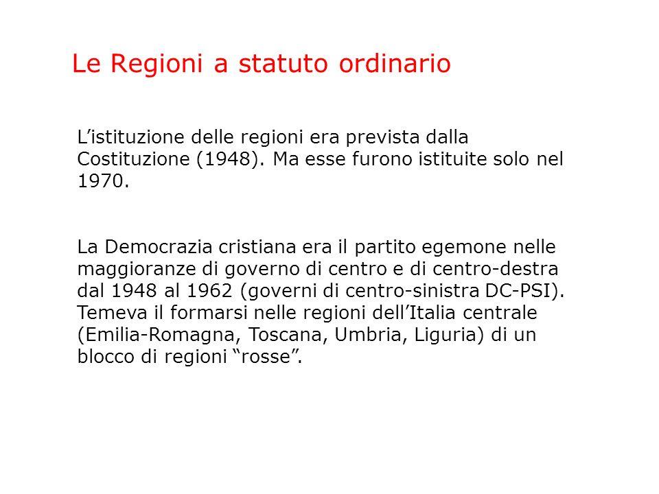 Le Regioni a statuto ordinario Listituzione delle regioni era prevista dalla Costituzione (1948).