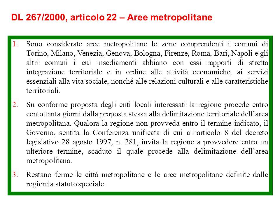 DL 267/2000, articolo 23 – Città metropolitane 1.