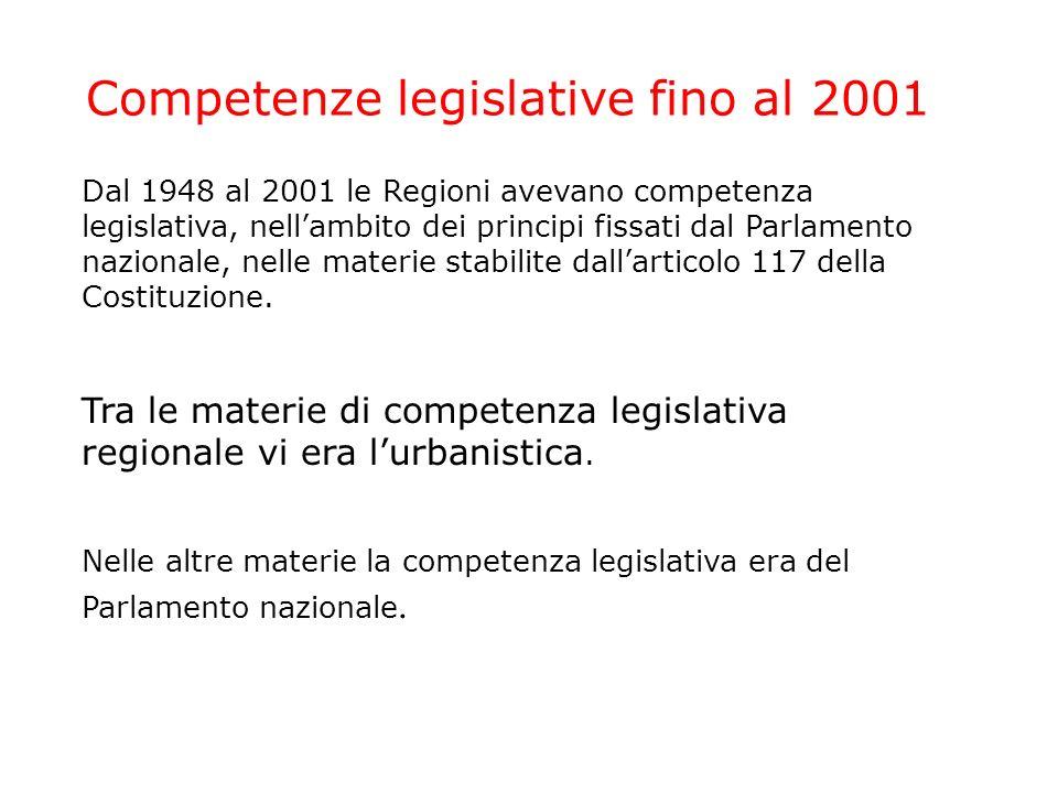 Competenze legislative fino al 2001 Dal 1948 al 2001 le Regioni avevano competenza legislativa, nellambito dei principi fissati dal Parlamento nazionale, nelle materie stabilite dallarticolo 117 della Costituzione.