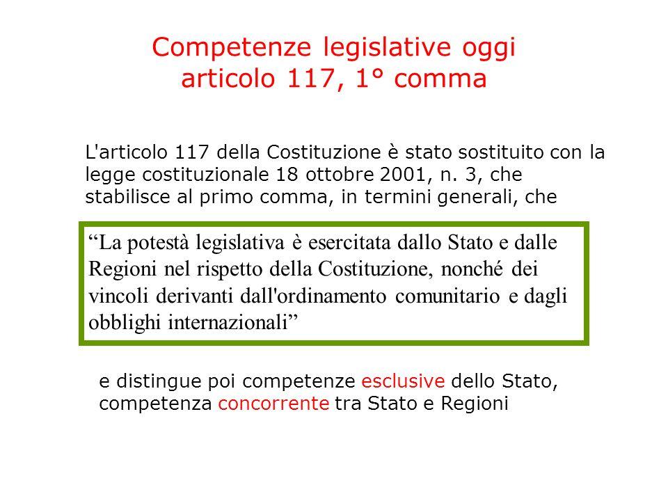 Competenze legislative oggi articolo 117, 1° comma L articolo 117 della Costituzione è stato sostituito con la legge costituzionale 18 ottobre 2001, n.