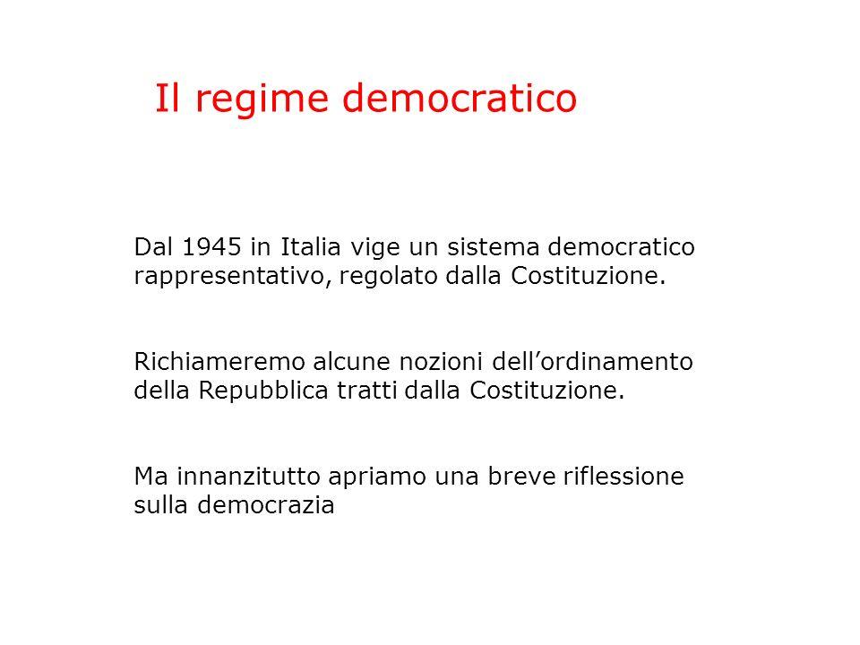 Il regime democratico Dal 1945 in Italia vige un sistema democratico rappresentativo, regolato dalla Costituzione.