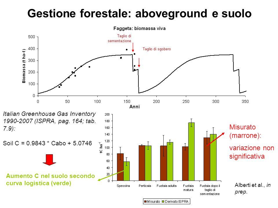 Gestione forestale: aboveground e suolo Alberti et al., in prep. Misurato (marrone): variazione non significativa Italian Greenhouse Gas Inventory 199