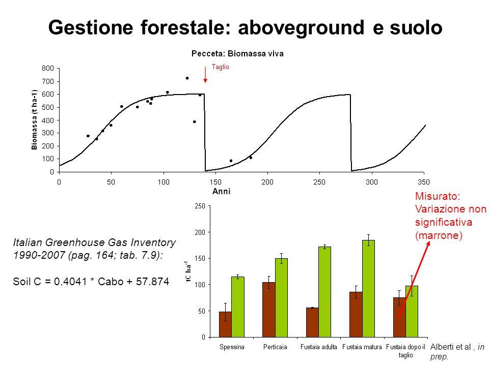 Alberti et al., in prep. Misurato: Variazione non significativa (marrone) Gestione forestale: aboveground e suolo Italian Greenhouse Gas Inventory 199