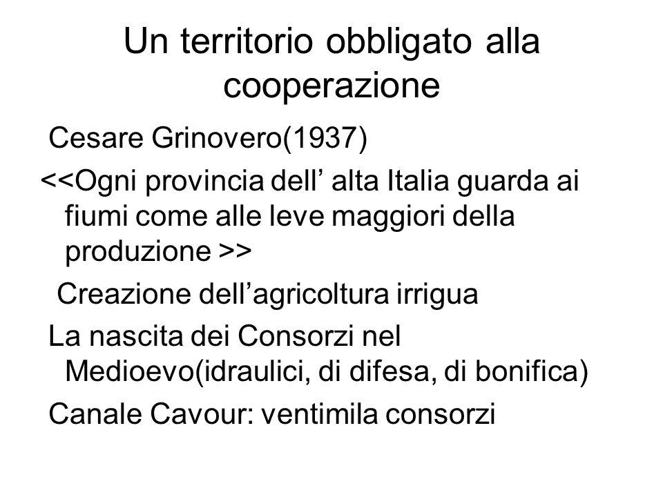 Un territorio obbligato alla cooperazione Cesare Grinovero(1937) > Creazione dellagricoltura irrigua La nascita dei Consorzi nel Medioevo(idraulici, d