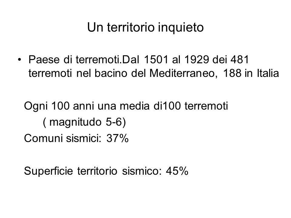 Un territorio inquieto Paese di terremoti.Dal 1501 al 1929 dei 481 terremoti nel bacino del Mediterraneo, 188 in Italia Ogni 100 anni una media di100