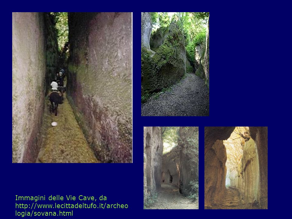 Il Patrimonio: Ipogei Tombe (sopra) e abitazioni (a destra) ipogee, da http://www.lecittadeltufo.it/archeologia/sovana.html