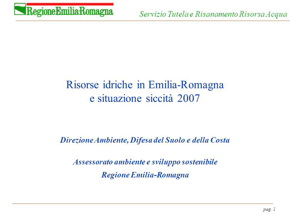 pag. 1 Servizio Tutela e Risanamento Risorsa Acqua Risorse idriche in Emilia-Romagna e situazione siccità 2007 Direzione Ambiente, Difesa del Suolo e
