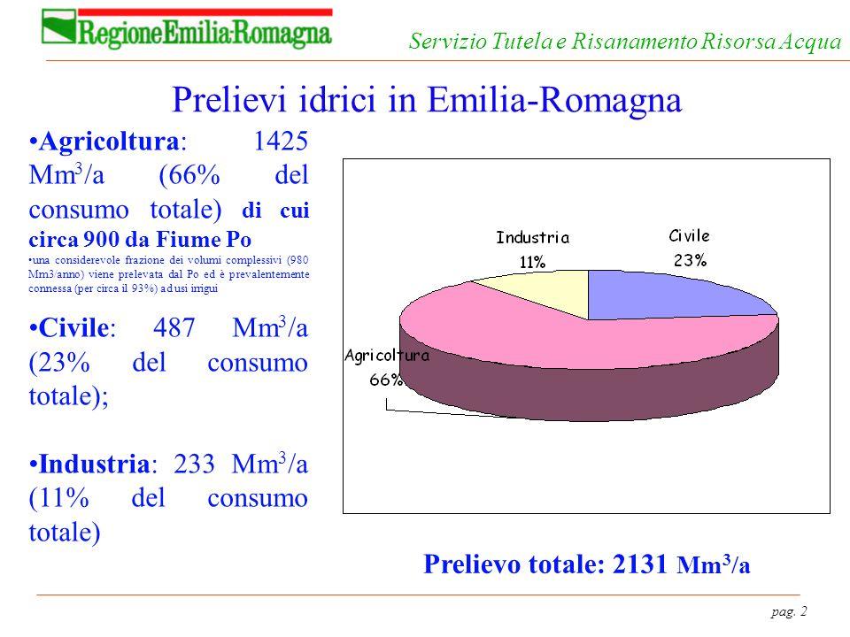 pag. 2 Servizio Tutela e Risanamento Risorsa Acqua Prelievi idrici in Emilia-Romagna Agricoltura: 1425 Mm 3 /a (66% del consumo totale) di cui circa 9