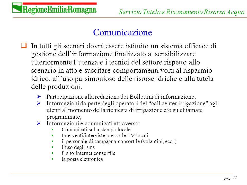 pag. 22 Servizio Tutela e Risanamento Risorsa Acqua Comunicazione In tutti gli scenari dovrà essere istituito un sistema efficace di gestione dellinfo