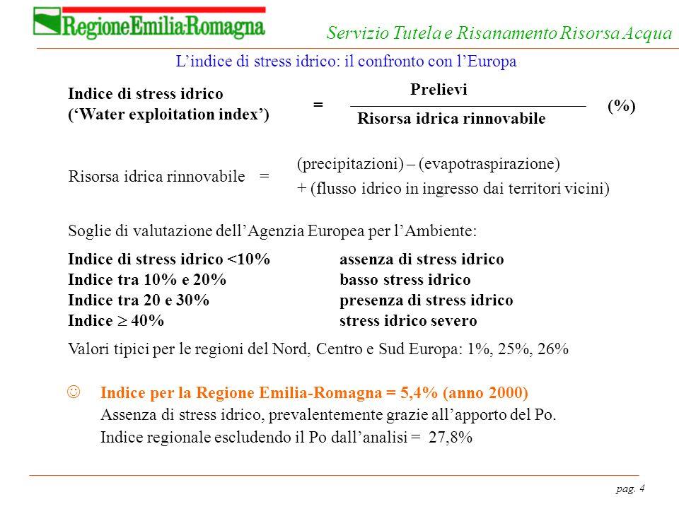pag. 4 Servizio Tutela e Risanamento Risorsa Acqua Lindice di stress idrico: il confronto con lEuropa Indice di stress idrico (Water exploitation inde