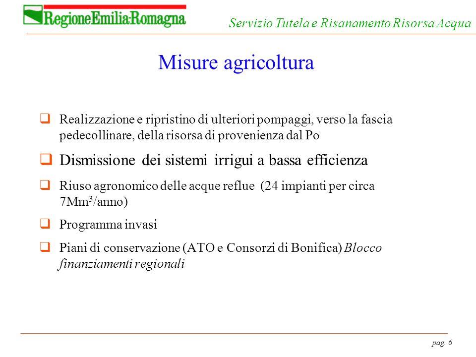 pag. 6 Servizio Tutela e Risanamento Risorsa Acqua Misure agricoltura Realizzazione e ripristino di ulteriori pompaggi, verso la fascia pedecollinare,