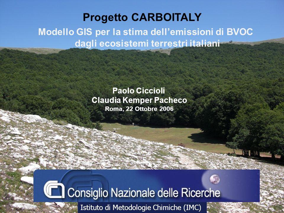 Paolo Ciccioli Claudia Kemper Pacheco Roma, 22 Ottobre 2006 Progetto CARBOITALY Modello GIS per la stima dellemissioni di BVOC dagli ecosistemi terres