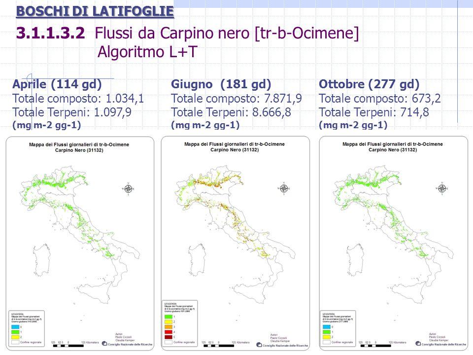 3.1.1.3.2 Flussi da Carpino nero [tr-b-Ocimene] Algoritmo L+T BOSCHI DI LATIFOGLIE Aprile (114 gd) Totale composto: 1.034,1 Totale Terpeni: 1.097,9 (m