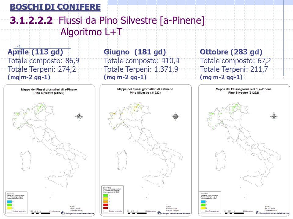 3.1.2.2.2 Flussi da Pino Silvestre [a-Pinene] Algoritmo L+T BOSCHI DI CONIFERE Aprile (113 gd) Totale composto: 86,9 Totale Terpeni: 274,2 (mg m-2 gg-