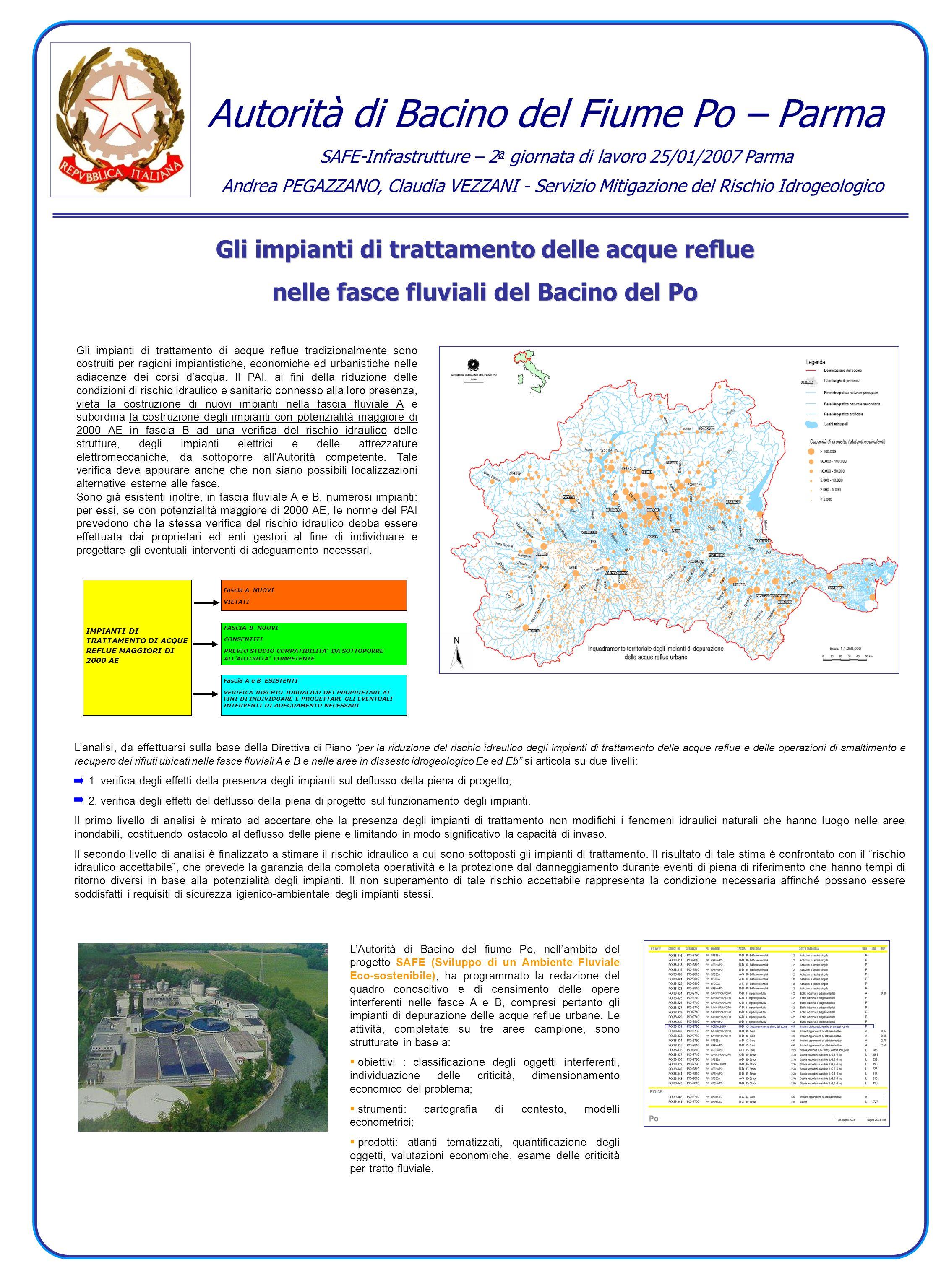 Gli impianti di trattamento delle acque reflue nelle fasce fluviali del Bacino del Po Gli impianti di trattamento di acque reflue tradizionalmente son