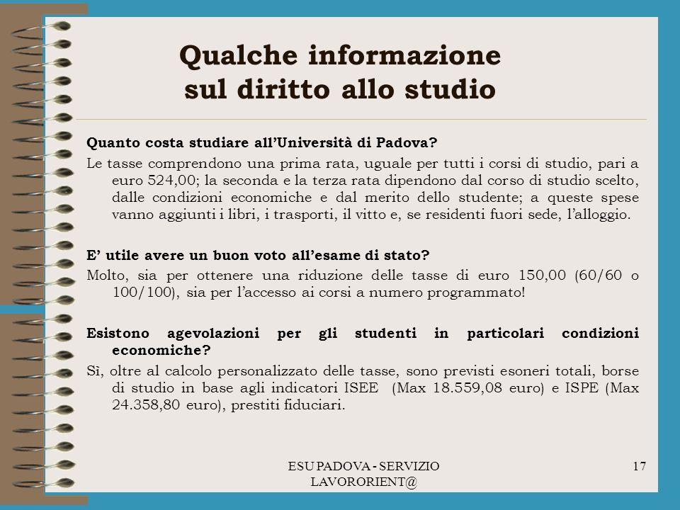 ESU PADOVA - SERVIZIO LAVORORIENT@ 17 Qualche informazione sul diritto allo studio Quanto costa studiare allUniversità di Padova.