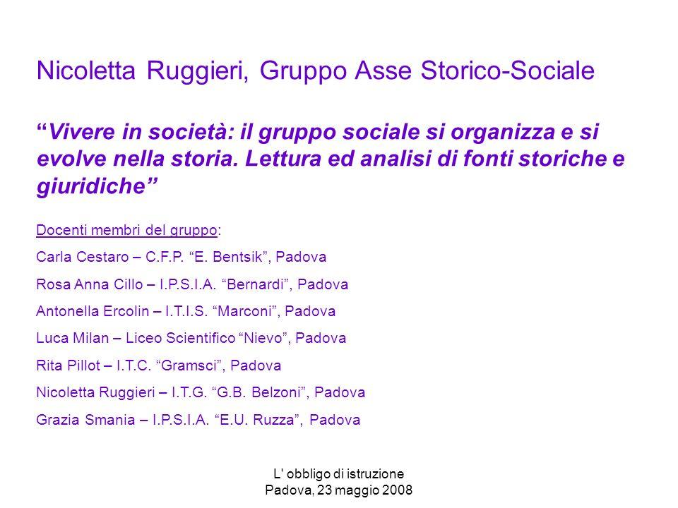 L' obbligo di istruzione Padova, 23 maggio 2008 Nicoletta Ruggieri, Gruppo Asse Storico-SocialeVivere in società: il gruppo sociale si organizza e si