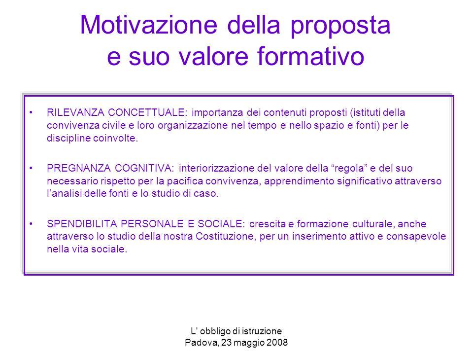 L' obbligo di istruzione Padova, 23 maggio 2008 Motivazione della proposta e suo valore formativo RILEVANZA CONCETTUALE: importanza dei contenuti prop