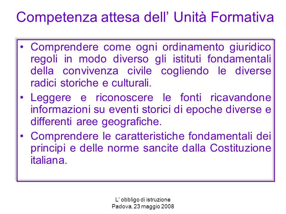 L' obbligo di istruzione Padova, 23 maggio 2008 Competenza attesa dell Unità Formativa Comprendere come ogni ordinamento giuridico regoli in modo dive