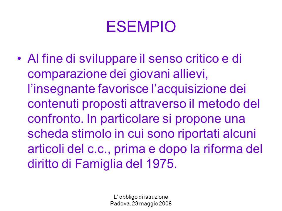 L obbligo di istruzione Padova, 23 maggio 2008 ESEMPIO Al fine di sviluppare il senso critico e di comparazione dei giovani allievi, linsegnante favorisce lacquisizione dei contenuti proposti attraverso il metodo del confronto.