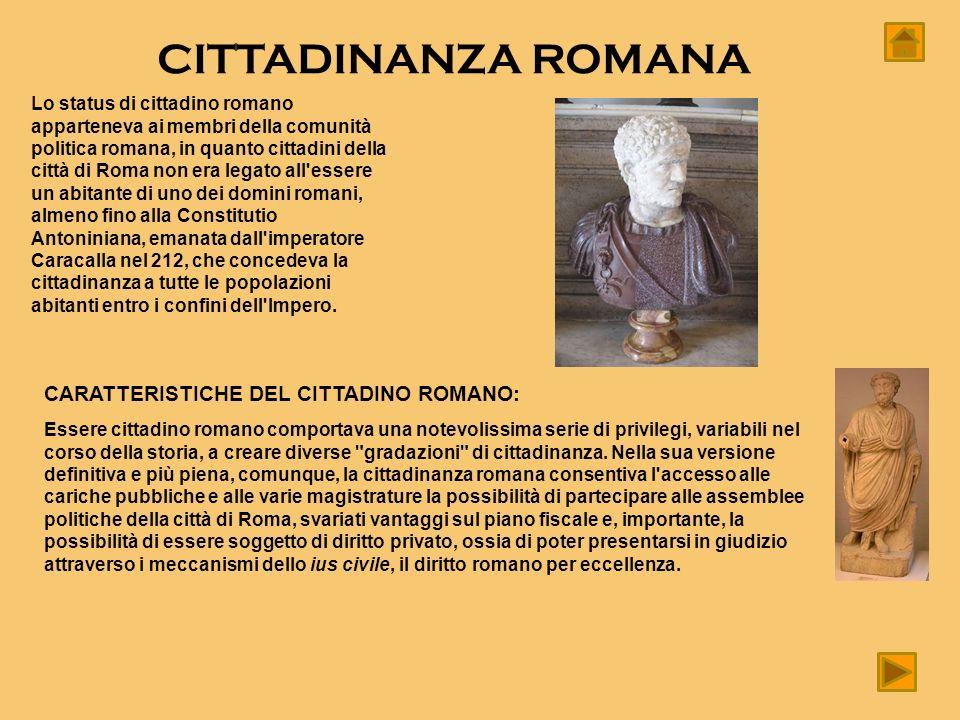 CITTADINANZA ROMANA Lo status di cittadino romano apparteneva ai membri della comunità politica romana, in quanto cittadini della città di Roma non er