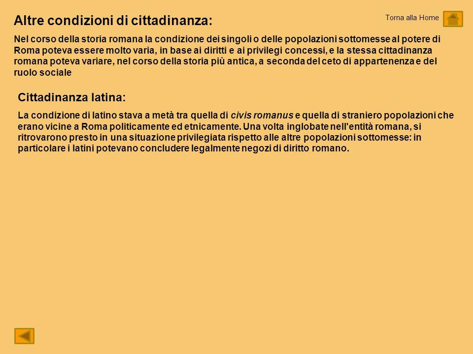 Altre condizioni di cittadinanza: Nel corso della storia romana la condizione dei singoli o delle popolazioni sottomesse al potere di Roma poteva esse