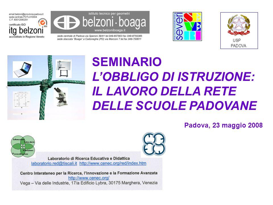SEMINARIO LOBBLIGO DI ISTRUZIONE: IL LAVORO DELLA RETE DELLE SCUOLE PADOVANE Padova, 23 maggio 2008 USP PADOVA