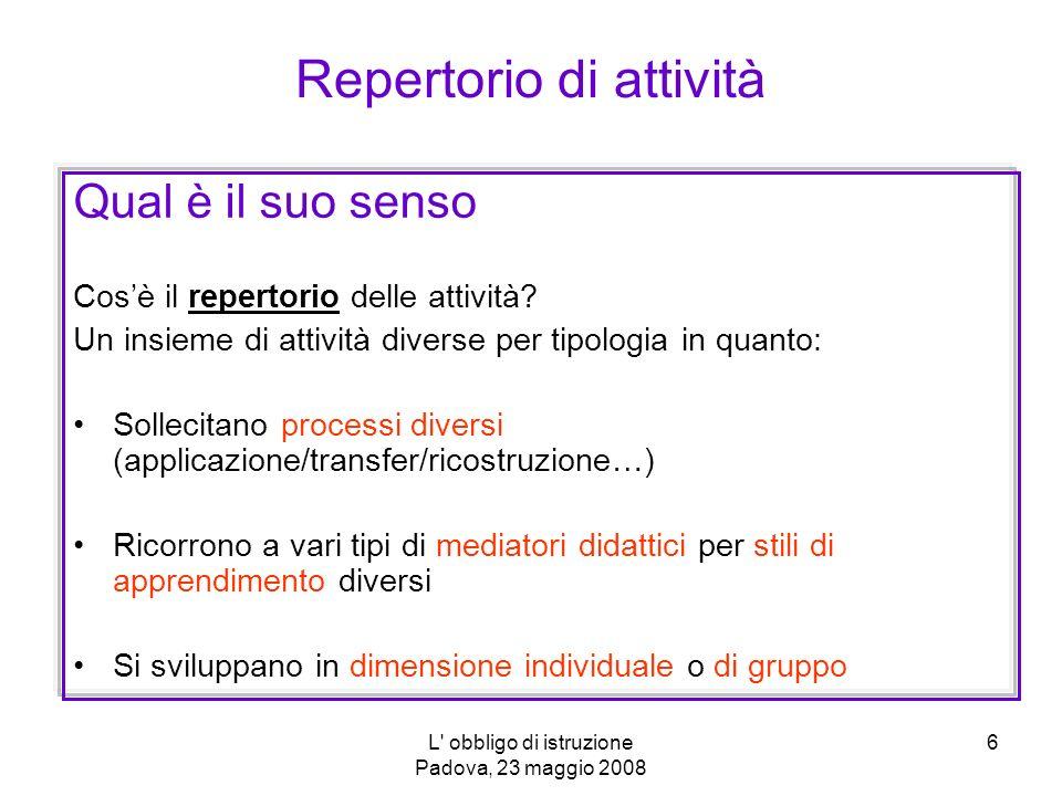L obbligo di istruzione Padova, 23 maggio 2008 6 Qual è il suo senso Cosè il repertorio delle attività.