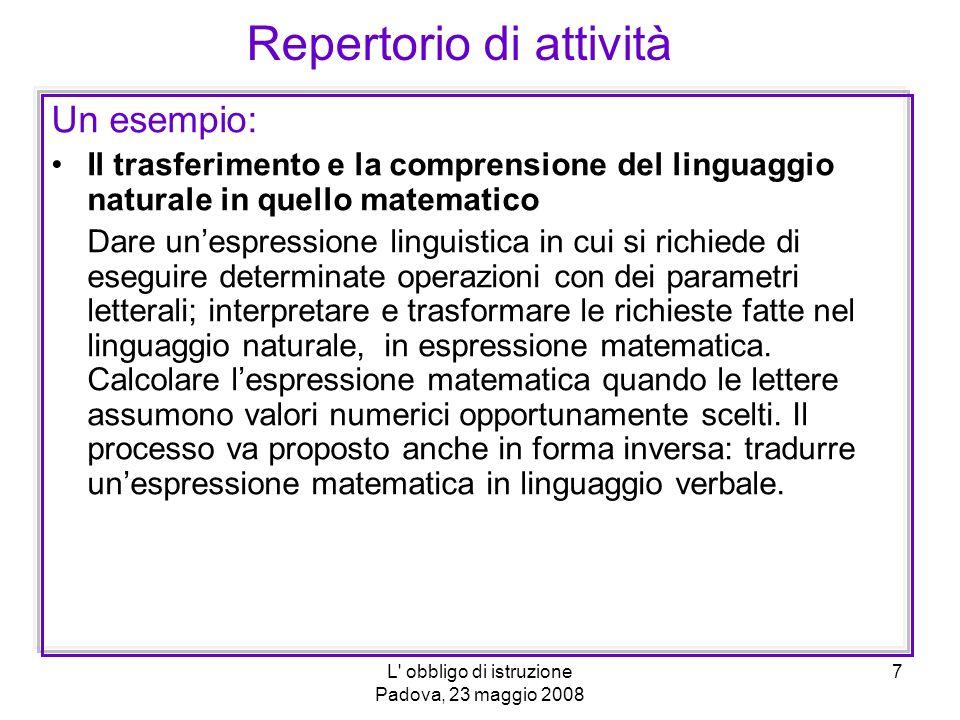L obbligo di istruzione Padova, 23 maggio 2008 8 Esempi in N e Z.