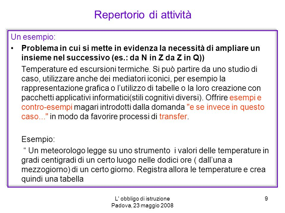 L obbligo di istruzione Padova, 23 maggio 2008 10 Repertorio di attività ORAORA 123456789101112 TEMPERATURATEMPERATURA -4°-6°-9°-9-9°-12°-6°-4°-1°0°3°7°