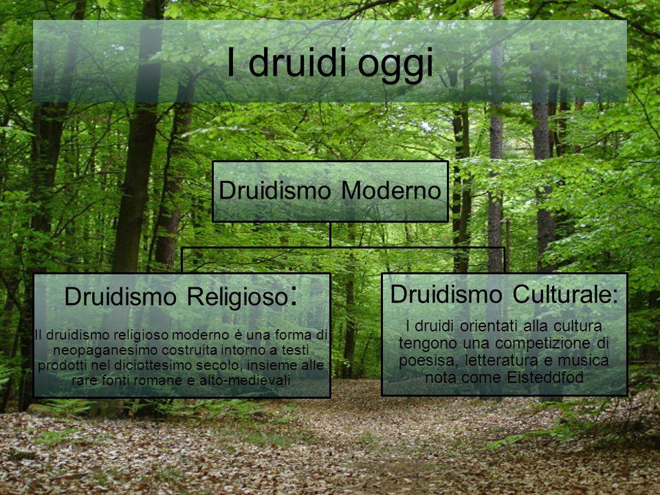 I druidi oggi Druidismo Moderno Druidismo Religioso : Il druidismo religioso moderno è una forma di neopaganesimo costruita intorno a testi prodotti n