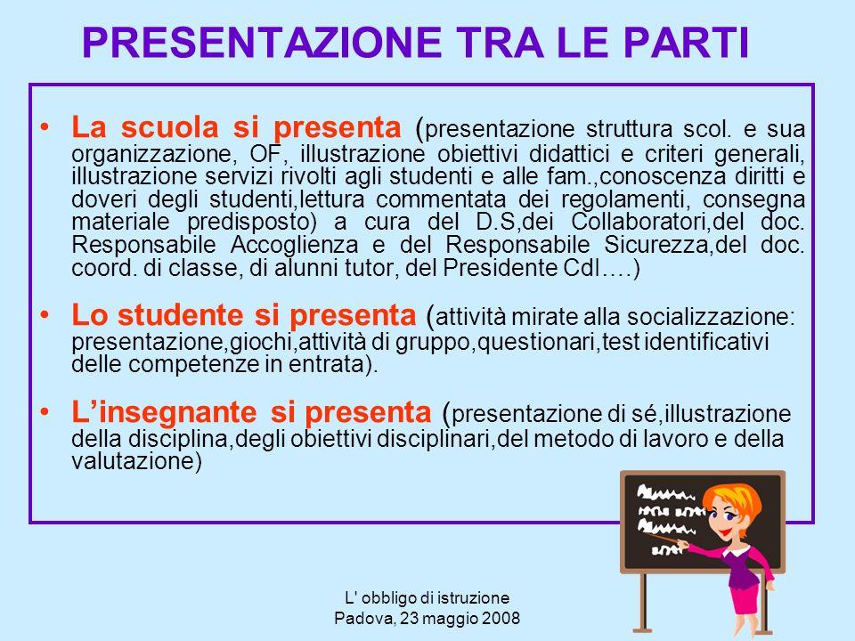 L' obbligo di istruzione Padova, 23 maggio 2008 PRESENTAZIONE TRA LE PARTI La scuola si presenta ( presentazione struttura scol. e sua organizzazione,