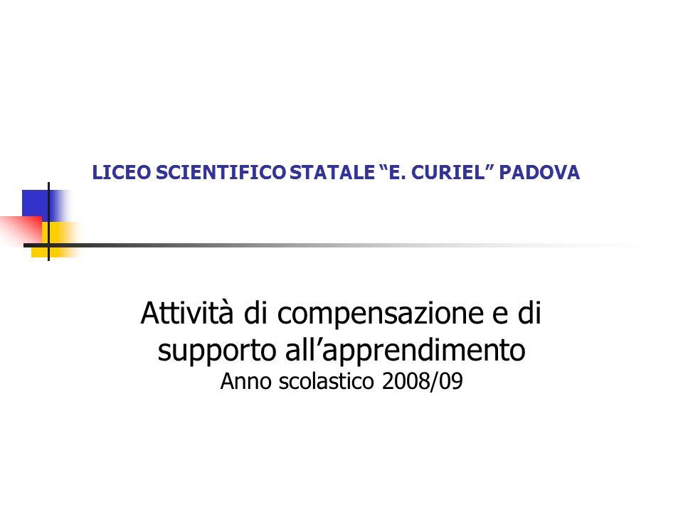 LICEO SCIENTIFICO STATALE E. CURIEL PADOVA Attività di compensazione e di supporto allapprendimento Anno scolastico 2008/09