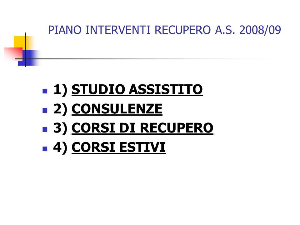 PIANO INTERVENTI RECUPERO A.S. 2008/09 1) STUDIO ASSISTITO 2) CONSULENZE 3) CORSI DI RECUPERO 4) CORSI ESTIVI