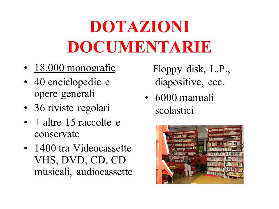 DOTAZIONI DOCUMENTARIE 18.000 monografie 40 enciclopedie e opere generali 36 riviste regolari + altre 15 raccolte e conservate 1400 tra Videocassette