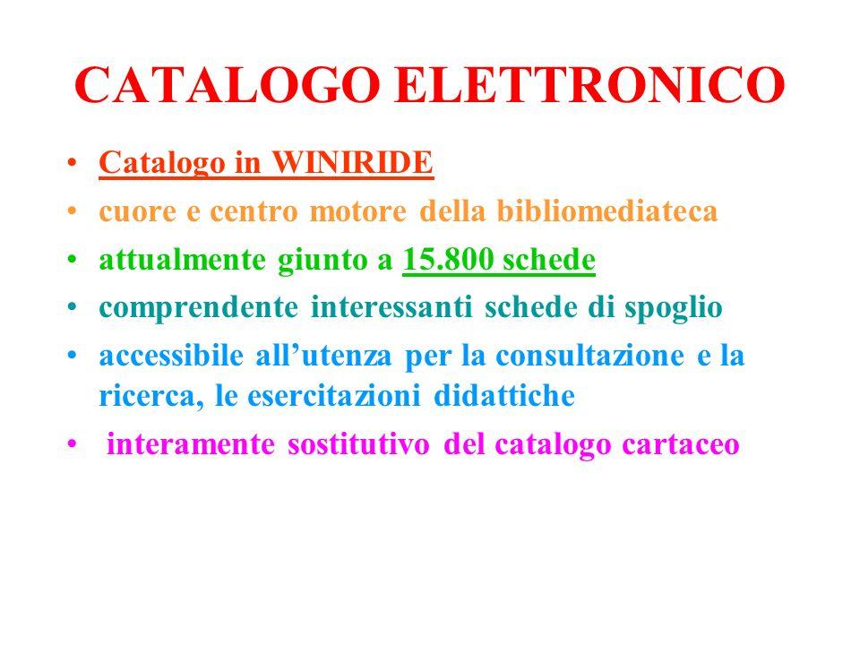 CATALOGO ELETTRONICO Catalogo in WINIRIDE cuore e centro motore della bibliomediateca attualmente giunto a 15.800 schede comprendente interessanti sch