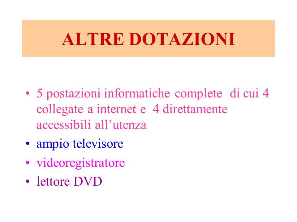 ALTRE DOTAZIONI 5 postazioni informatiche complete di cui 4 collegate a internet e 4 direttamente accessibili allutenza ampio televisore videoregistra