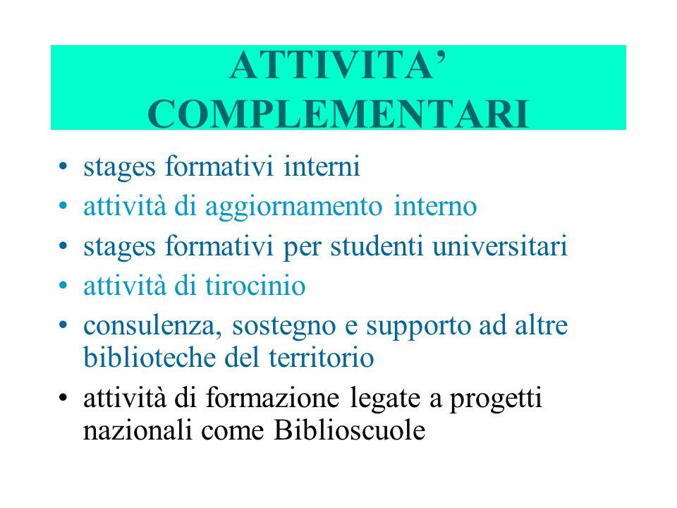 ATTIVITA COMPLEMENTARI stages formativi interni attività di aggiornamento interno stages formativi per studenti universitari attività di tirocinio con