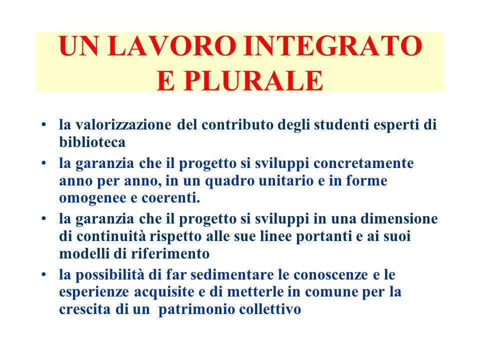 UN LAVORO INTEGRATO E PLURALE la valorizzazione del contributo degli studenti esperti di biblioteca la garanzia che il progetto si sviluppi concretame