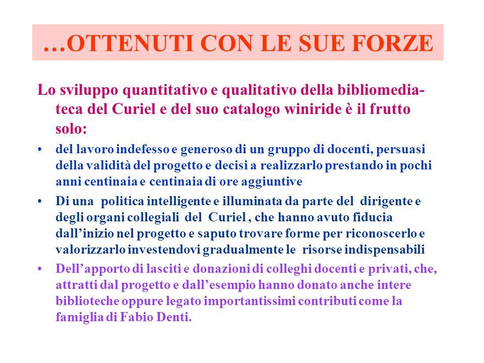 …OTTENUTI CON LE SUE FORZE Lo sviluppo quantitativo e qualitativo della bibliomedia- teca del Curiel e del suo catalogo winiride è il frutto solo: del