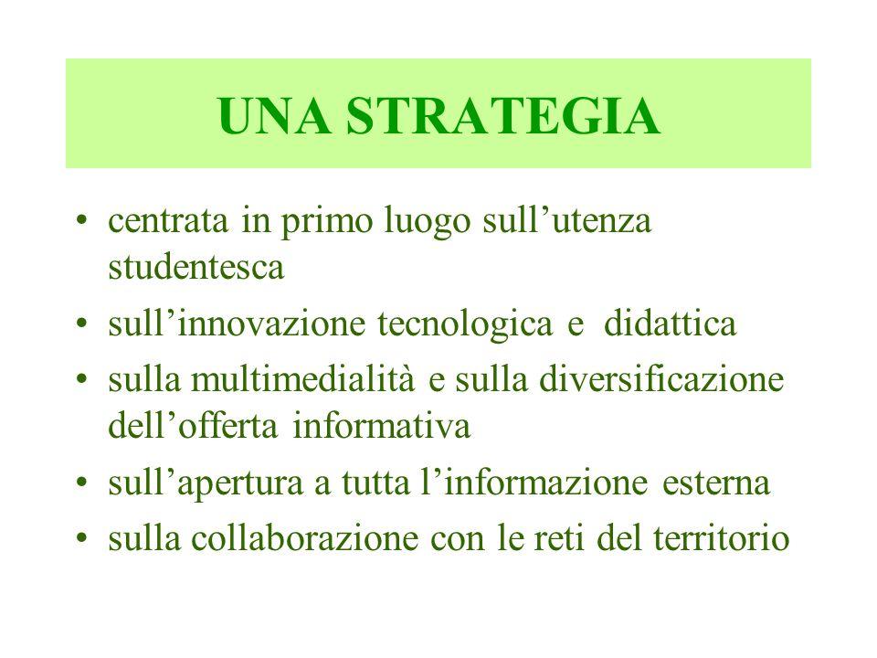 UNA STRATEGIA centrata in primo luogo sullutenza studentesca sullinnovazione tecnologica e didattica sulla multimedialità e sulla diversificazione del